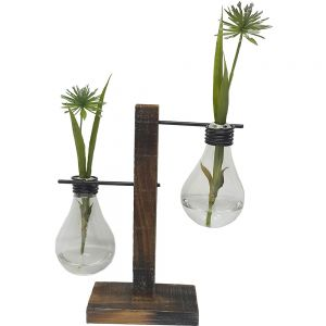 JK37-18 : Wooden holder light bulb vase - double
