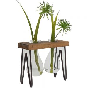 JKW204-22 : Haley propagation stand / wooden double vase