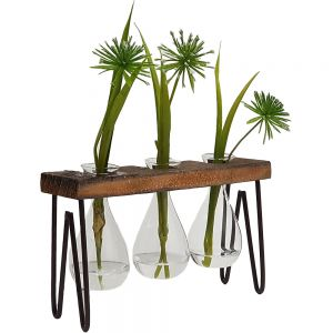JKW204-23 : Haley propagation stand / wooden triple vase