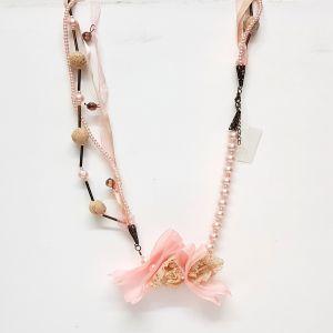 korean harajuku floral necklace - pink