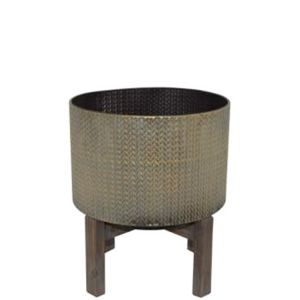 L115 : Turan metal planter with wooden base - Short   **AVAIL MID APRIL 2020**