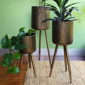 L122 : Set of 3 Armin gold washed metal planters with tripod stand legs **AVAILABLE END MAY **