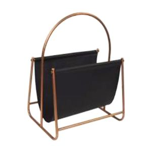 L124 : Derrick modern faux leather brass metal frame magazine holder  **AVAIL MID APRIL 2020**