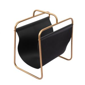 L125 : Dickson modern faux leather brass metal frame magazine holder