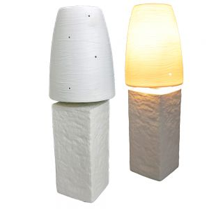 Porcelain white contemporary lamp w/stone base