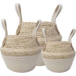 LF-M12-1 : set/3 Ramon collapsible storage basket w/handles - 2-tone natural / white **AVAILABLE END APRIL**