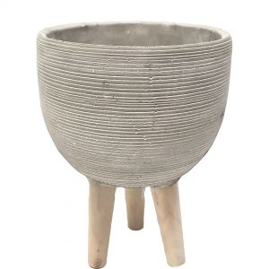 LS173-GY : D20cm ribbed cement pot wooden leg planter  - Taupe grey