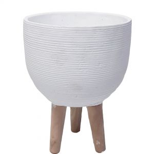 LS173-W : D20cm ribbed cement pot wooden leg planter  - White