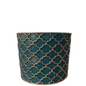 LS201-EG: Imperial Gold pattern round cement planter pot - H12.5cm - Emerald Green