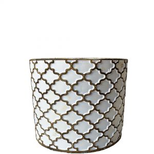 LS201-W : Imperial Gold pattern round cement planter pot - H12.5cm - White