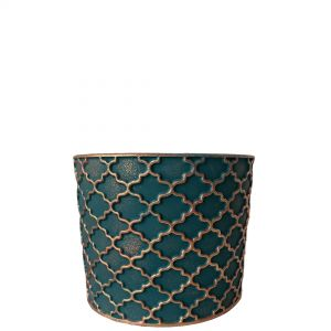 LS202-EG: Imperial Gold pattern round cement planter pot - H11cm - Emerald Green