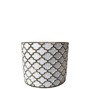 LS202-W: Imperial Gold pattern round cement planter pot - H11cm - White