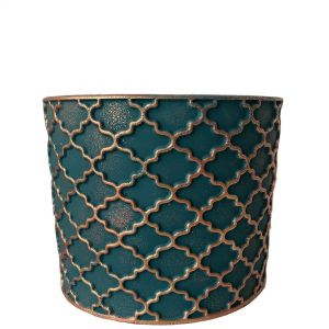 LS203-EG : Imperial Gold pattern round cement planter pot - H14cm - Emerald Green