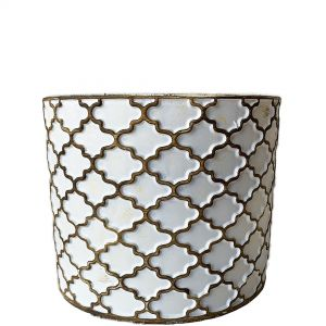LS203-W : Imperial Gold pattern round cement planter pot - H14cm - White w/gold rustic wash