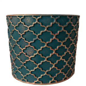 LS204-EG : Imperial Gold pattern round cement planter pot - H20cm - Emerald Green