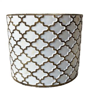 LS204-W :  Imperial Gold pattern round cement planter pot - H20cm - WHITE W/GOLD RUSTIC WASH