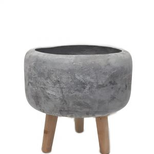 LS27-3WG : Soren cement wooden leg planters H27cm - stone grey