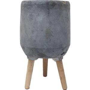 LS45-3WG : Soren cement wooden leg planters H45cm - stone grey