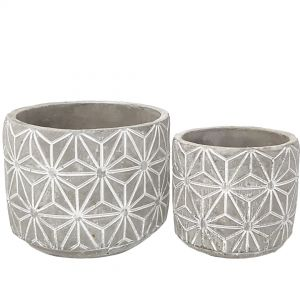 Metro ceramic white wash pots - set/2