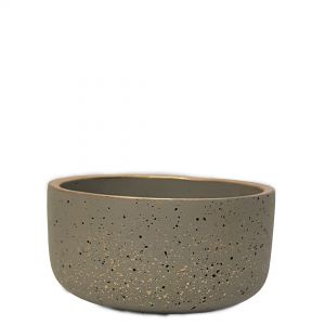 LS728A-GY : Lars speckled wide round cement planter pot - D15xH8cm - grey