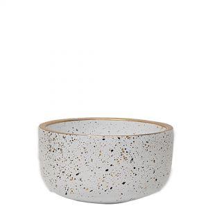 LS728A-W : Lars speckled wide round cement planter pot - D15xH8cm - white