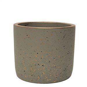 LS728B-GY : Lars speckled round cement planter pot - H14cm - Grey