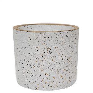 LS728B-W : Lars speckled round cement planter pot - H14cm - White
