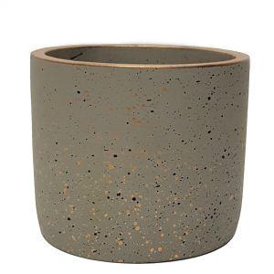 LS728C-GY : Lars speckled round cement planter pot - H20cm - Grey