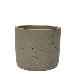 LS728D-GY : Lars speckled round cement planter pot - H12cm - grey