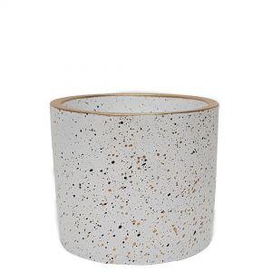 LS728D-W : Lars speckled round cement planter pot - H12cm - white