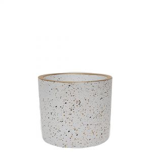 LS728Z-W : Lars speckled round cement planter pot - H11cm - white **AVAILABLE EARLY OCTOBER 2021**