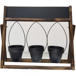 Wooden blackboard 3 pot plant holder