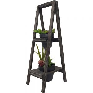 2 tier wooden A-frame standing pot plant holder - Large