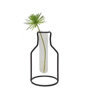 LW191-1 : Wine Bottle metal stand glass test tube vase - small **AVAILABLE MID NOVEMBER**