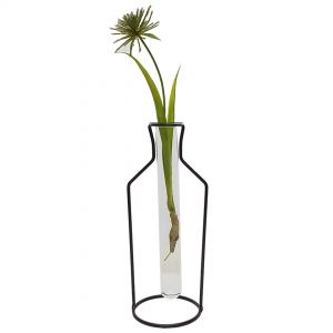 LW191-4 : Gin Bottle metal stand glass test tube vase - Large