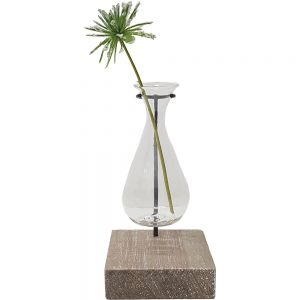 Jason single teardrop glass vase metal stand