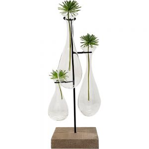 Jason 3 teardrop glass vase metal stand