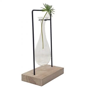 LW248-18 : Jennifer single teardrop glass vase metal stand
