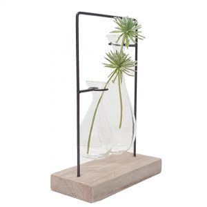 LW248-19 : Jennifer double teardrop glass vase metal stand