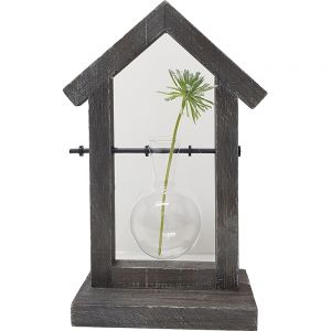Wooden house single vase holder