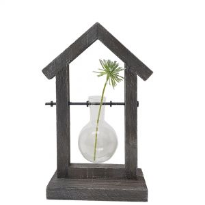 LW270-1 : Wooden house propagation stand / single vase holder
