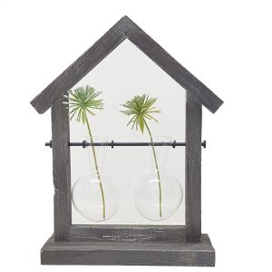 LW270-2 : Wooden house double vase holder