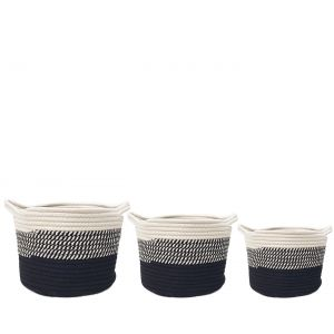 MJ-01AFS : Set/3 Juliana Cotton Woven round Storage basket: 3-tone - white, grey, black