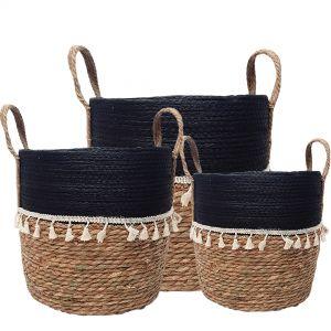 MJ-01WLA : set/3 Trish V-shape basket with tassles - 2-tone - natural / black