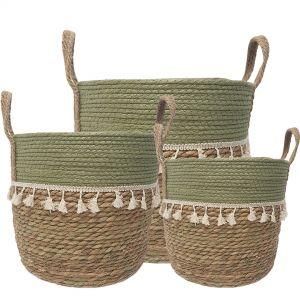 MJ-01WLB : set/3 Trish V-shape basket (plastic lined) with tassles - 2-tone - natural / olive