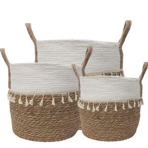 MJ-01WLD : set/3 Trish V-shape basket (plastic lined) with tassles - 2-tone - natural / white **AVAILABLE LATE APRIL**