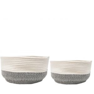 MJ-04BFS : Set/2 Juliana Cotton Woven round bowl basket - white & grey