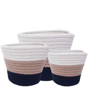 MJ-17WL : Set/3 Martha Cotton Woven V-shape container pots - tri-color black