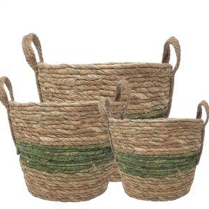 MJ-18WL : set/3 Tracey V-shape basket ( plastic lined) with handles  - Natural / Green