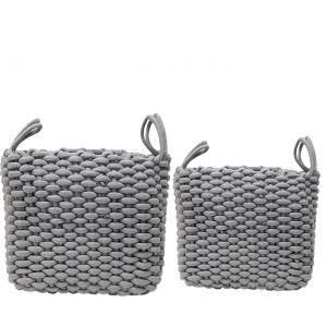 MJ-24BH-G : Set/2 Martha Square Cotton Rope Woven Storage Basket w/handles - Grey